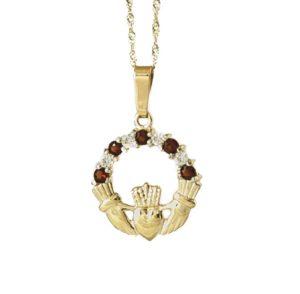 Claddagh Pendant with Garnet CZ & Cz stones