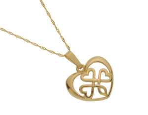 10CT Gold open Shamrock in heart pendant