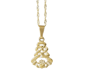 Gold Claddagh Pendant with GBDC 18