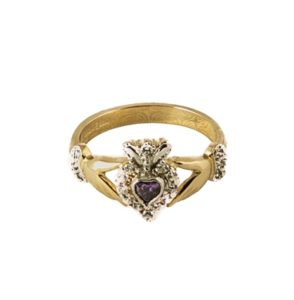 Gold Amethyst Claddagh ring