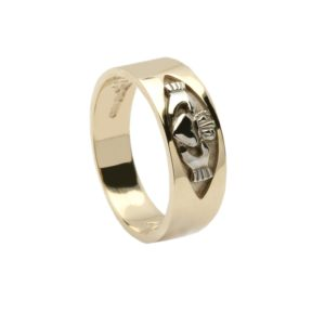 10CT Gold RIng with Claddagh insert Claddagh Motto engraved inside