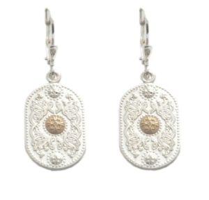 Silver drop Earrings with Rare Irish Gold