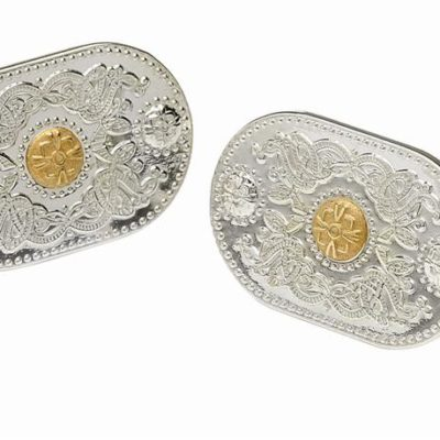 Sterling Silver Cuff Links with Rare Irish Gold Bosses