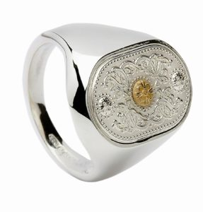 Gents signet rings with 14CT Boss