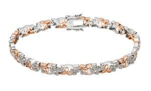 Silver Bracelet with CZ shamrocks and rose gold plated trinity knots