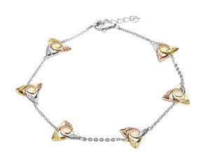 Silver Tri Colour Bracelet with CZ Trinity Spiral Centre