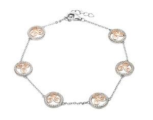 Silver CZ circle drop bracelet with six rose gold plated newgrange spiral