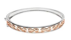 Silver & Rose Gold Plated La Tene Design Hinged Bangle