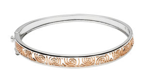 Silver & Rose Gold Plated Hinged Bangle