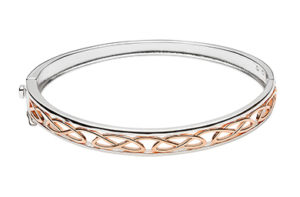 Silver & Rose Gold Plated Celtic Love Knot Design Hinged Bangle