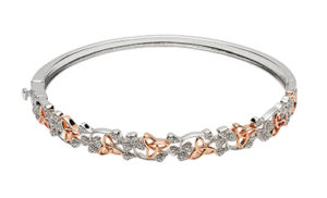 Silver Bangle with CZ shamrocks and rose gold plated trinity knots