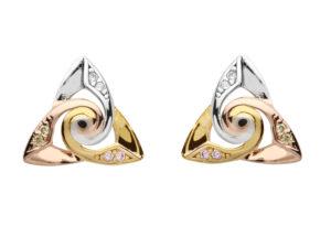 Silver celtic spiral tricolour earrings