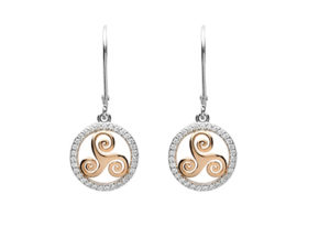 Silver CZ circle earrings with rose gold plated newgrange spiral