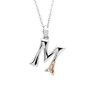 Silver celtic initial M pendant