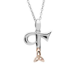 Silver celtic initial T pendant