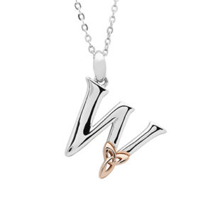 Silver celtic initial W pendant with rose gold plated trinity
