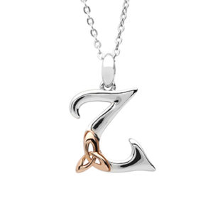 Silver celtic Z pendant with rose gold plated trinity