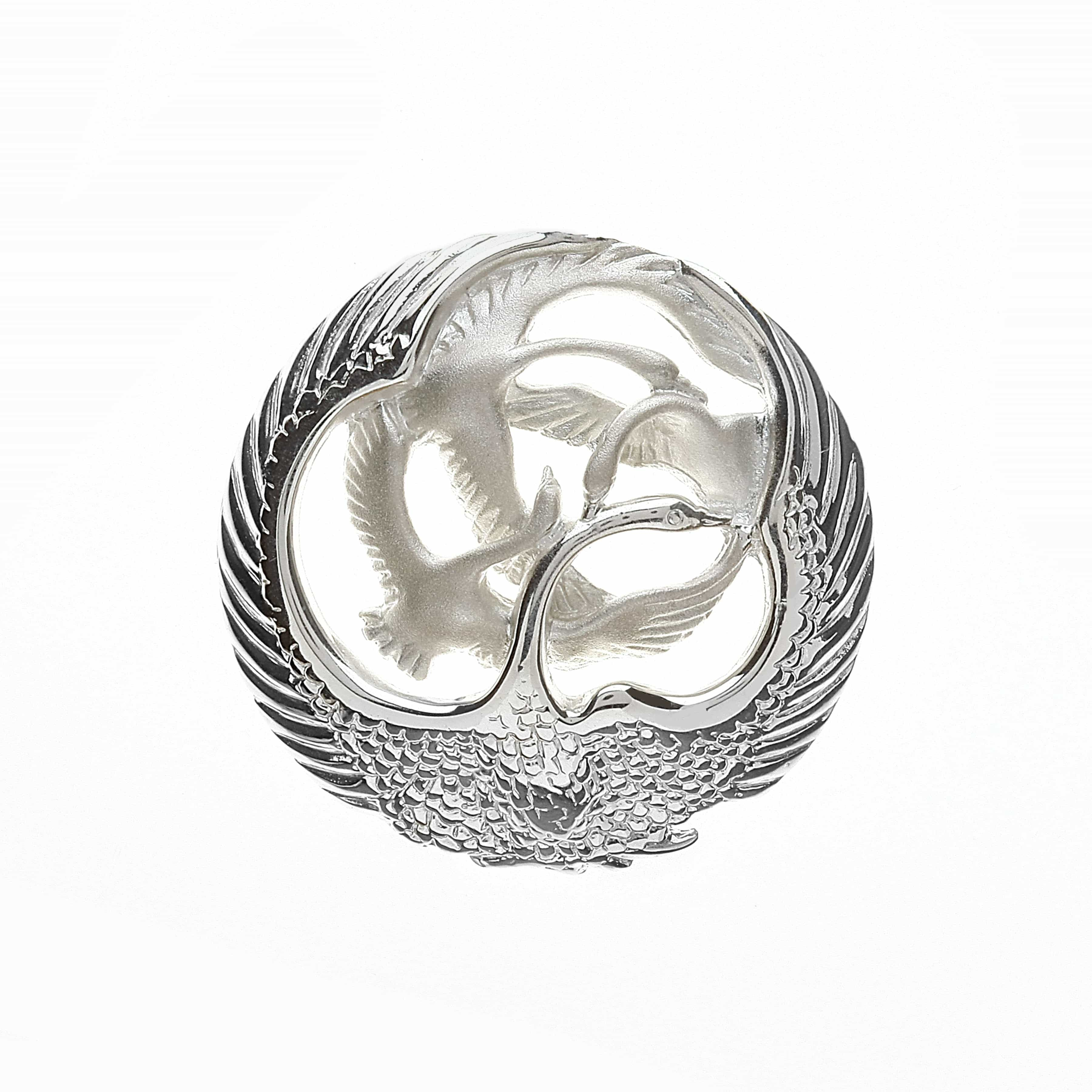 Four Swans Sculpted Brooch