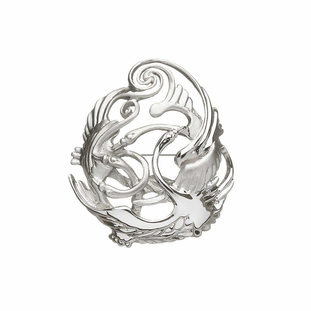 Pear Shaped Swans Brooch