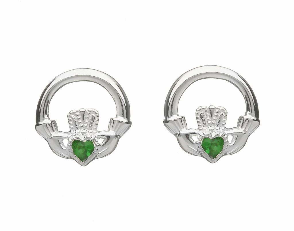 Stone Set Claddagh Studs