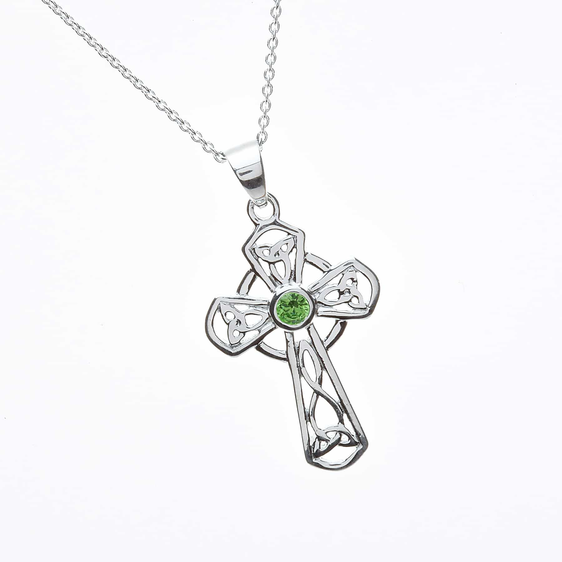 Green Cz Set Celtic Cross