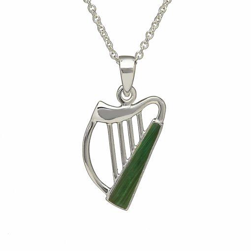 Silver & Enamel Celtic Harp