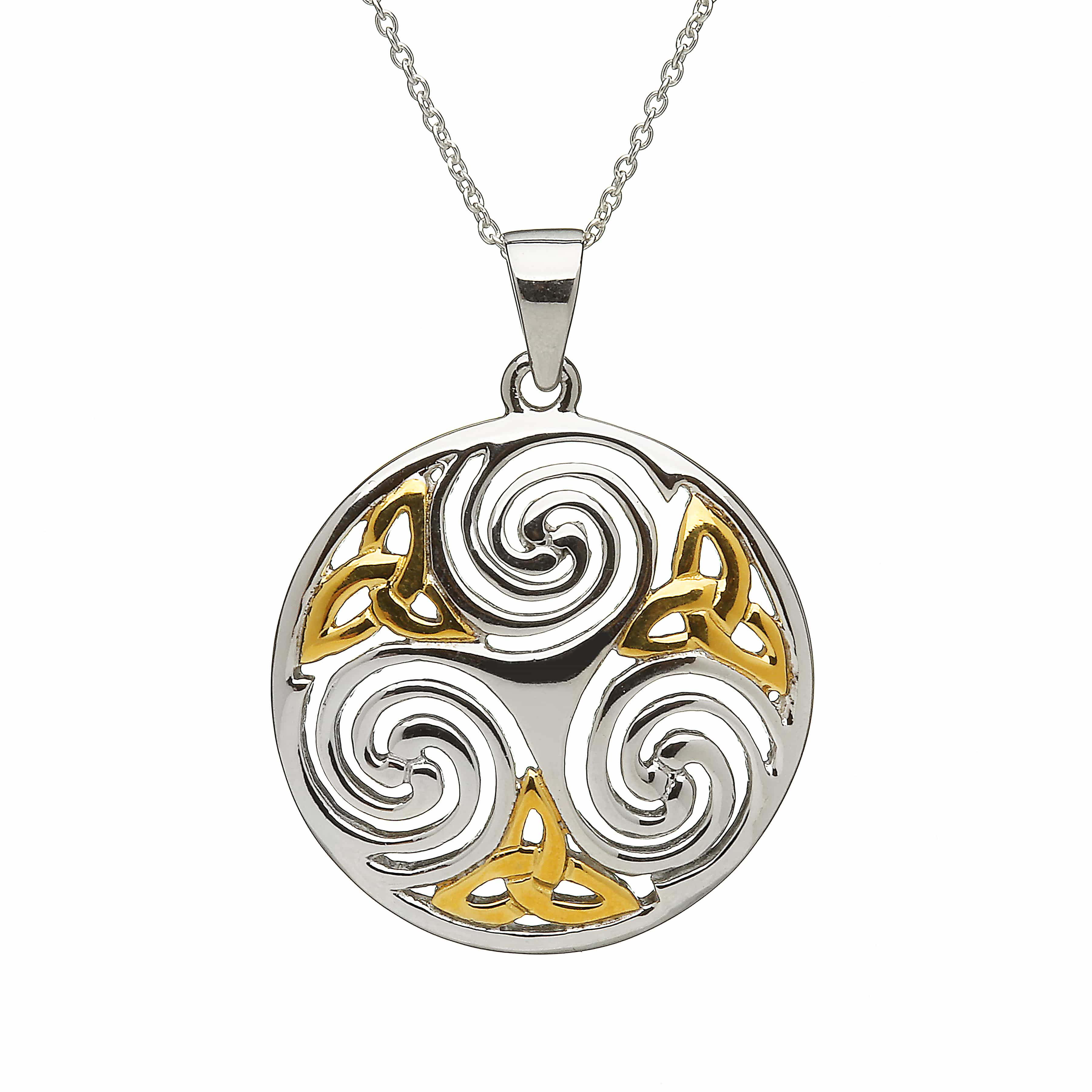 Sterling Silver Amp Gold Plaited Celtic Swirl Amp Trinity Knot