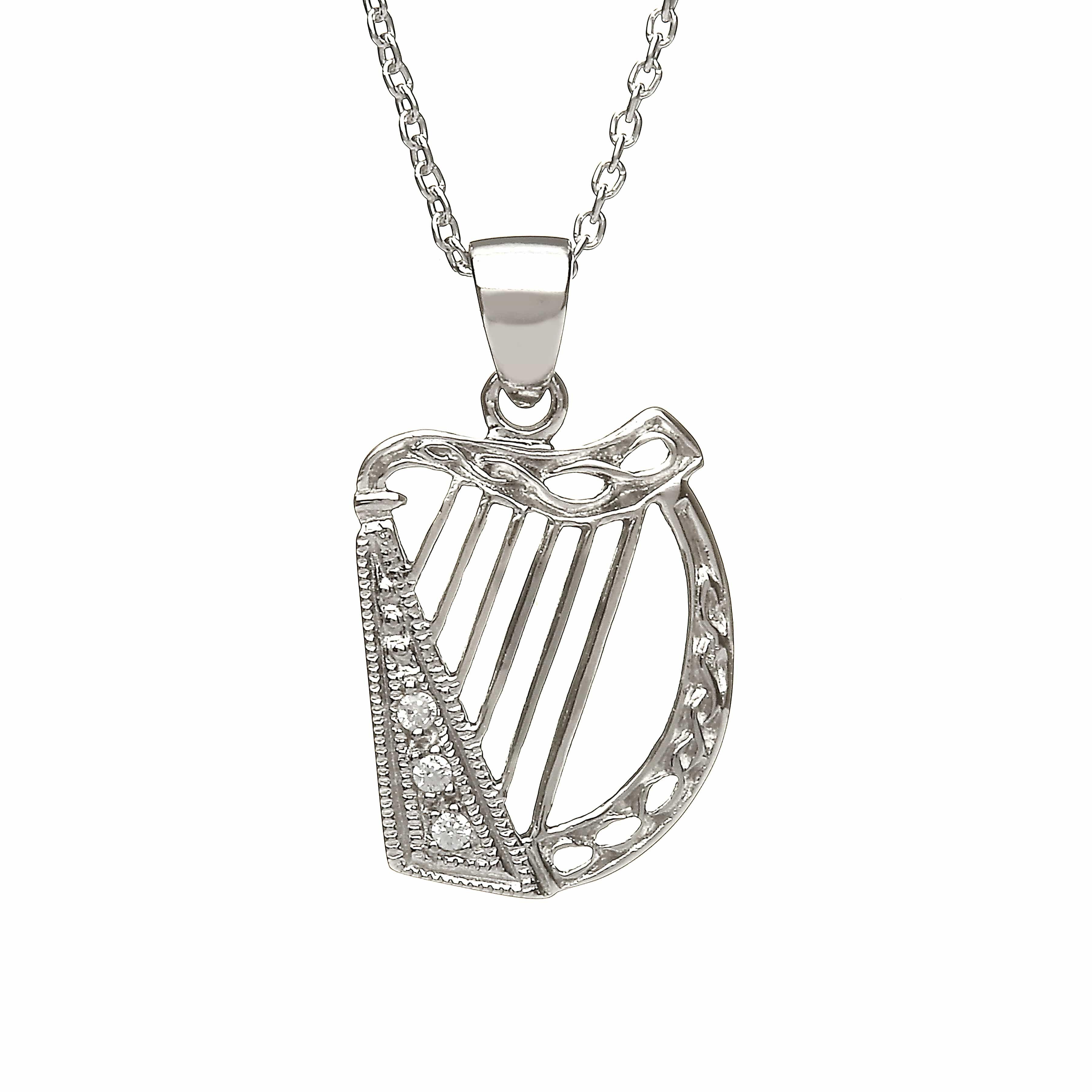 Cz Set Harp Pendant