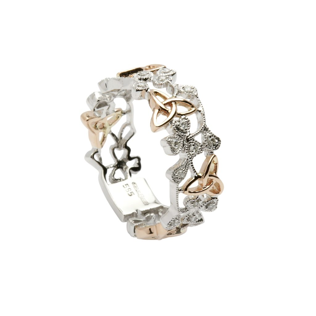 14ct Gold White & Rose With Diamonds