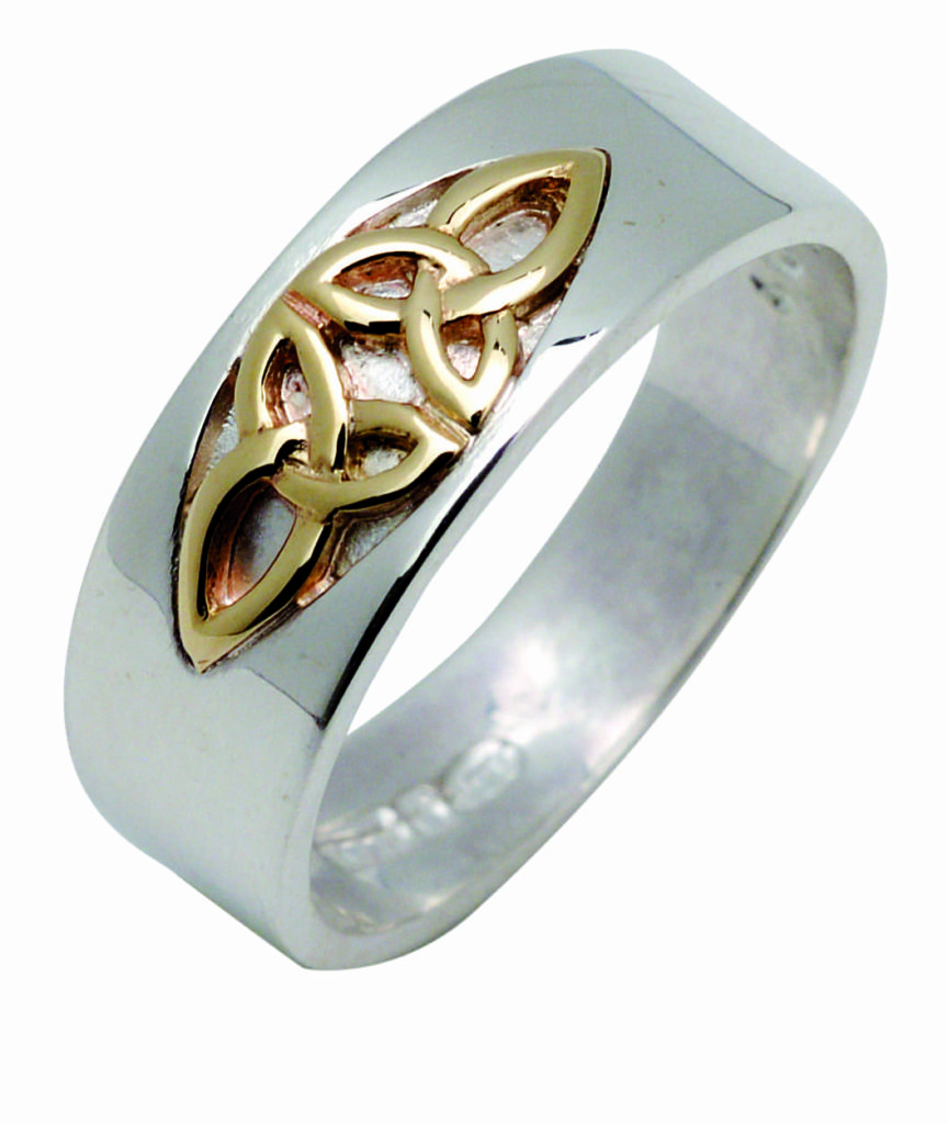 Silver & Gold Trinity Detail Ring