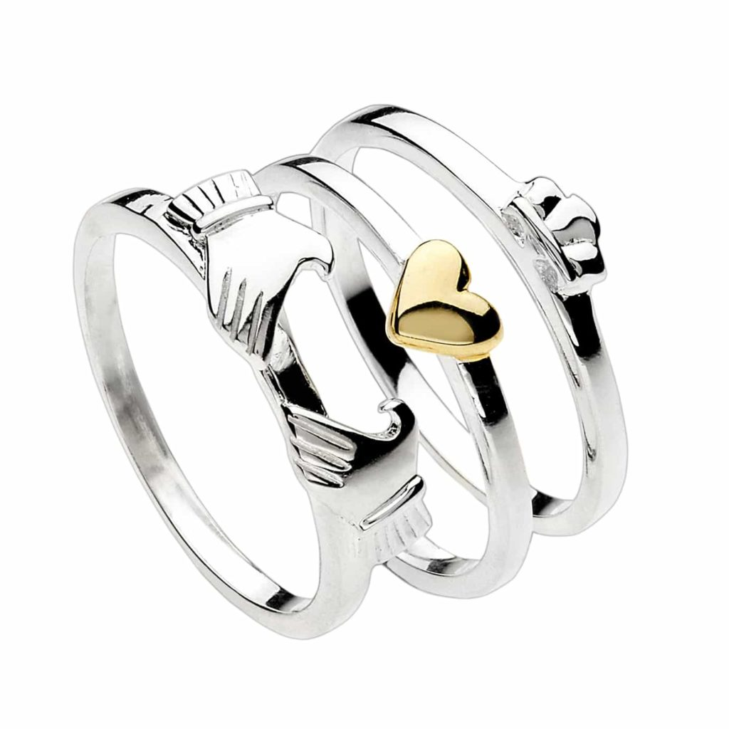 10ct yellow gold ladies ring with white gold Claddagh design and ...