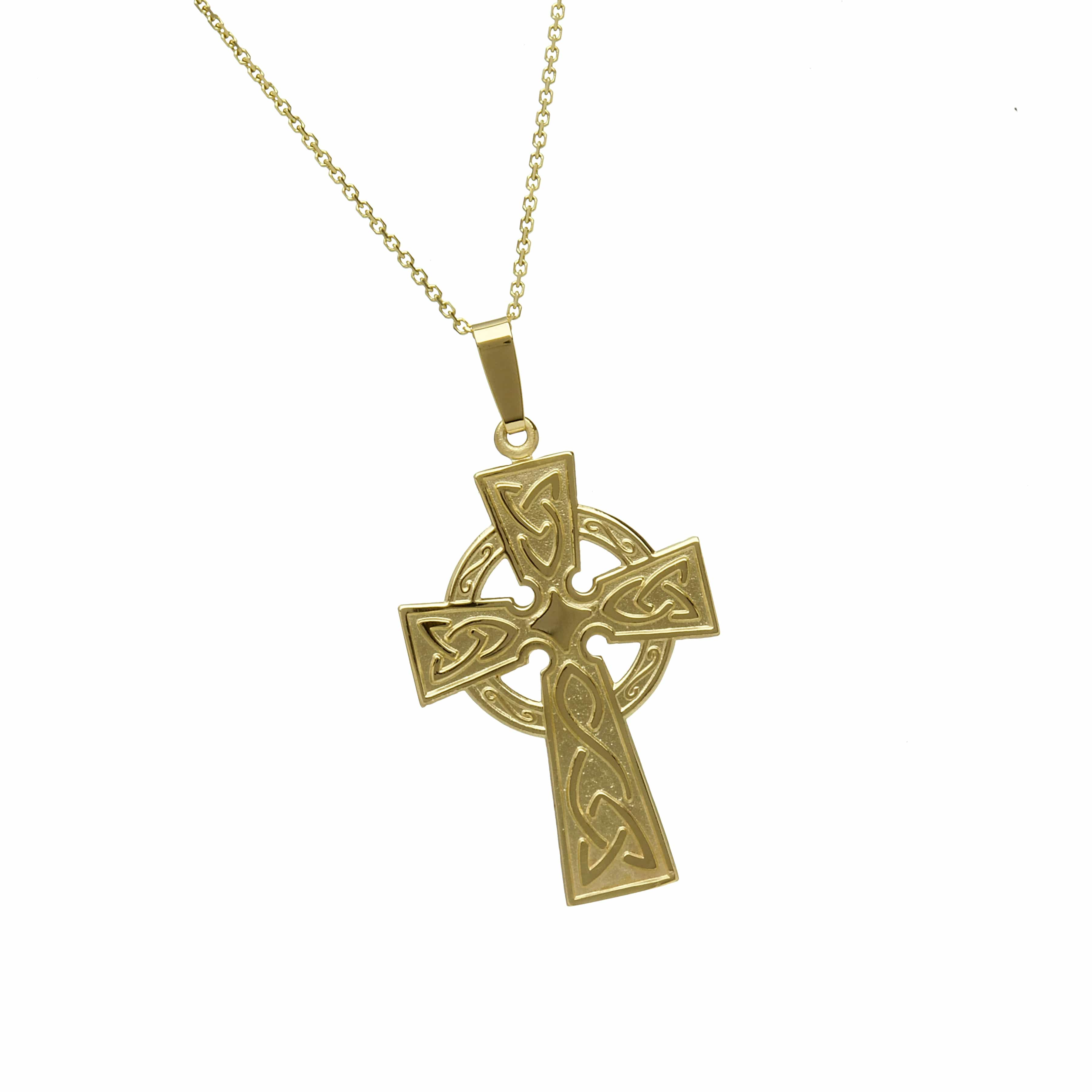10Ct Lrg Celtic Cross Engraved