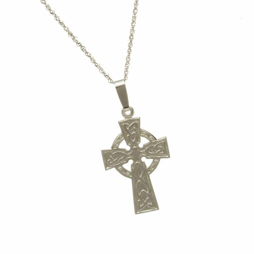 10Ct White Engraved Back Cross