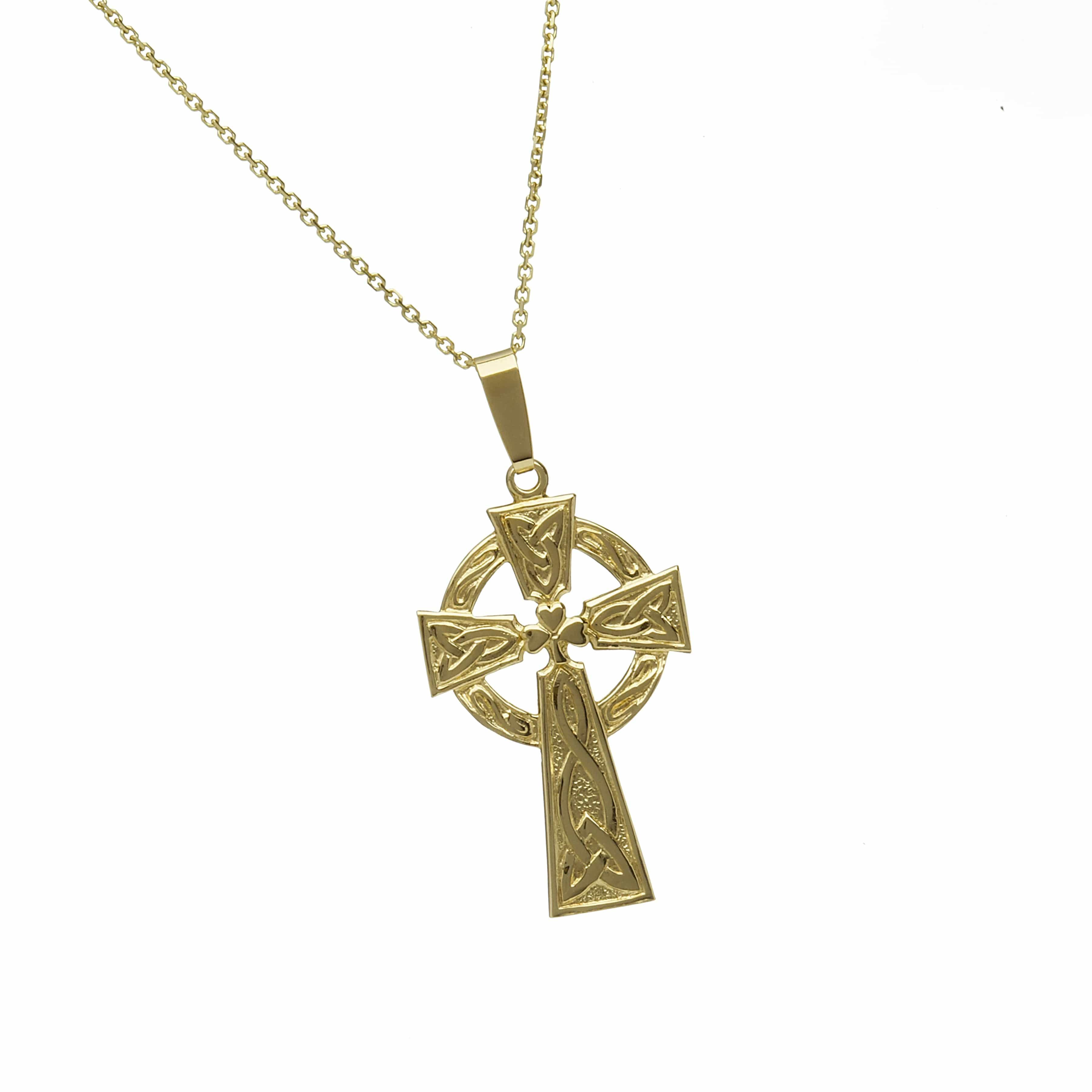 10Ct Shamrock Celtic Cross