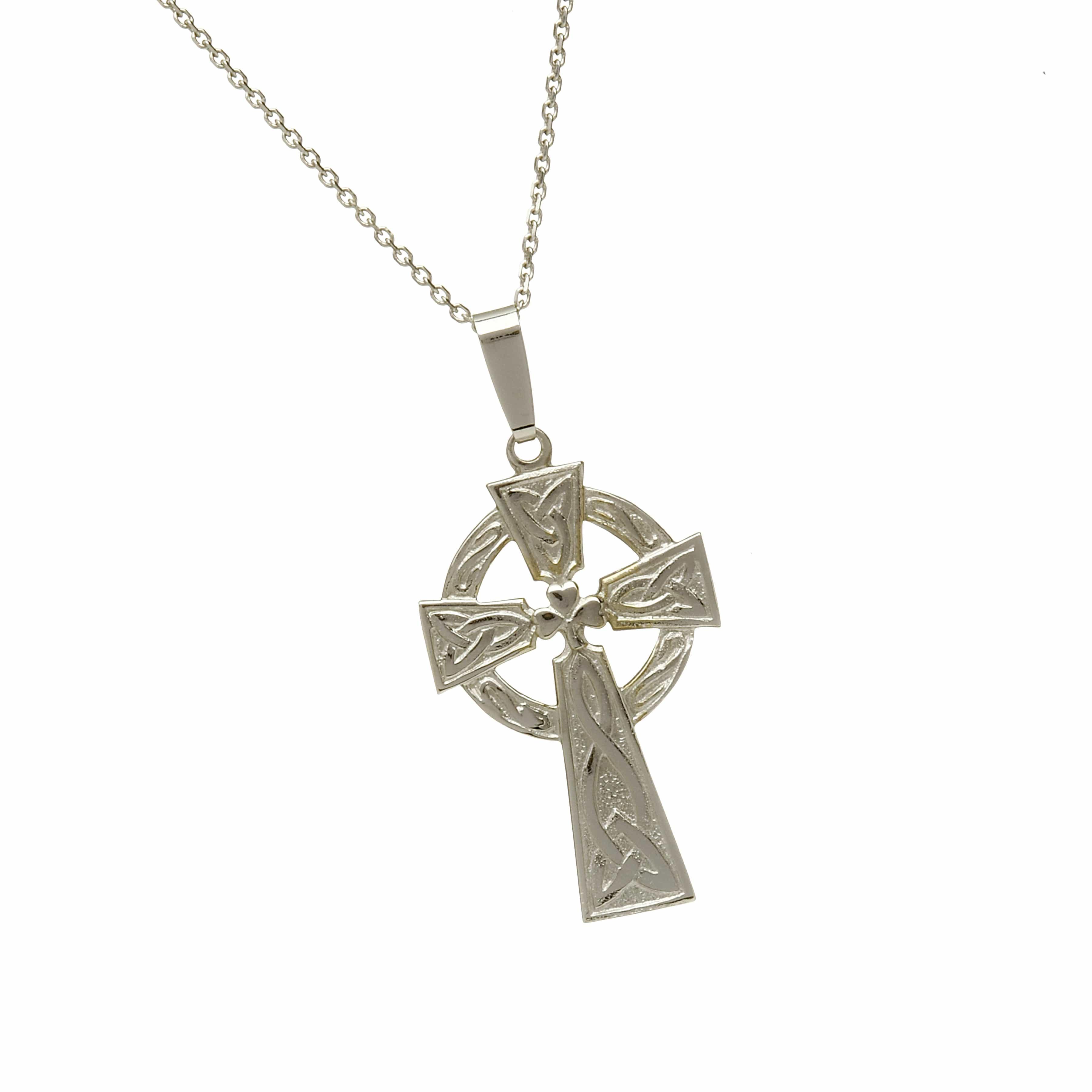 10Ct White Shamrock Celtic Cross