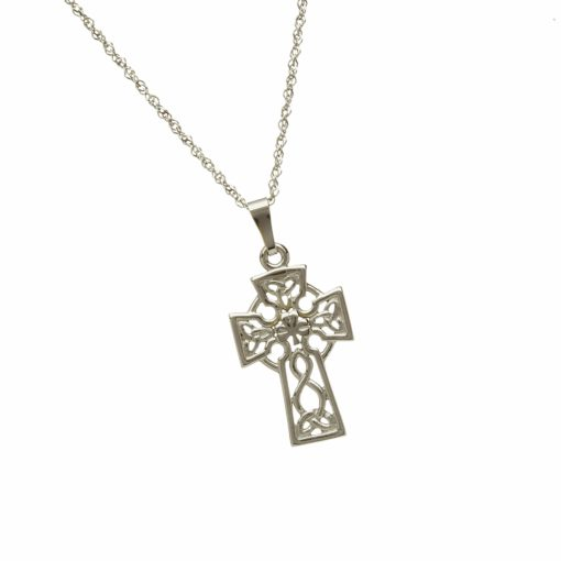 10Ct White Filigree Celtic Cross