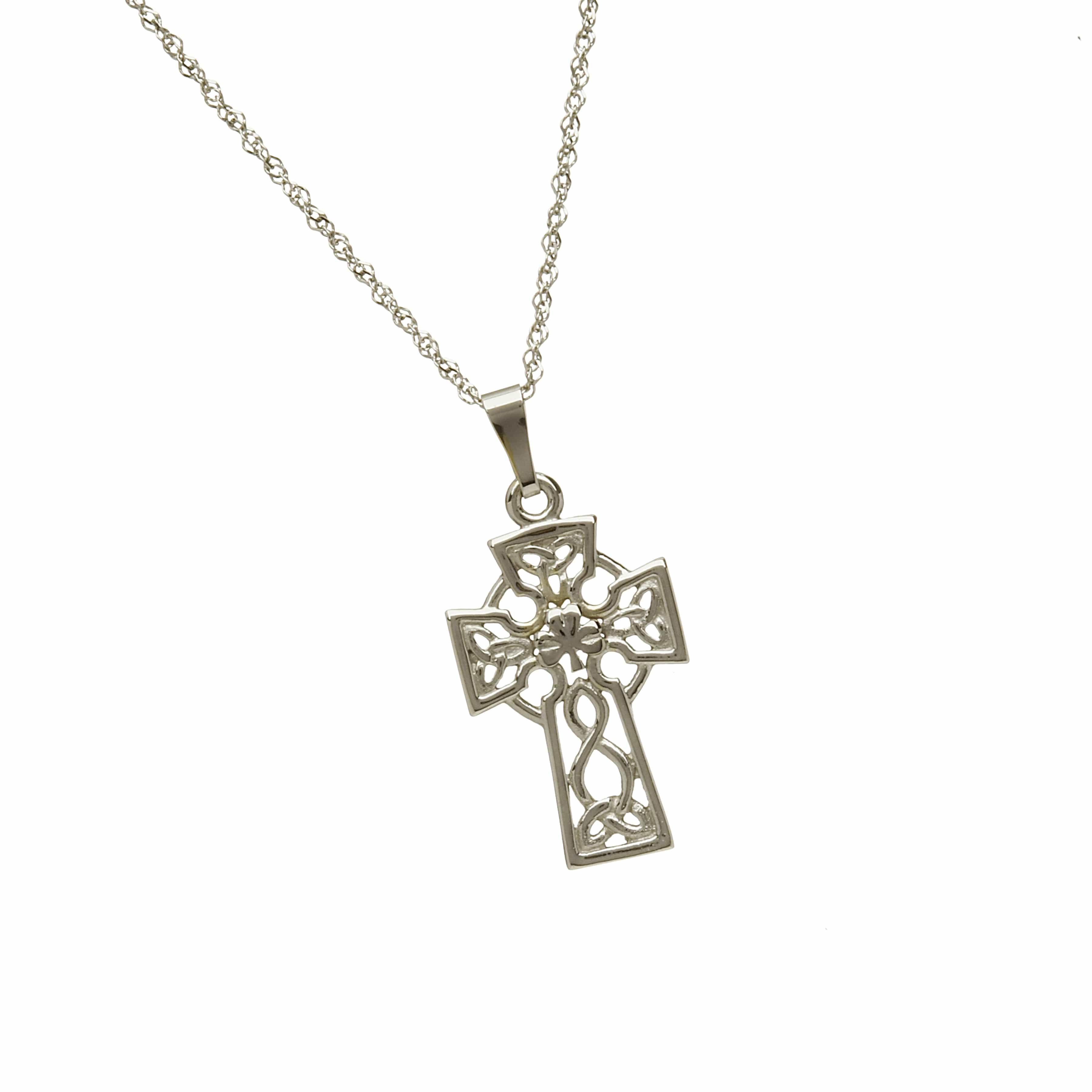 10Ct White Filigree Celtic Cross