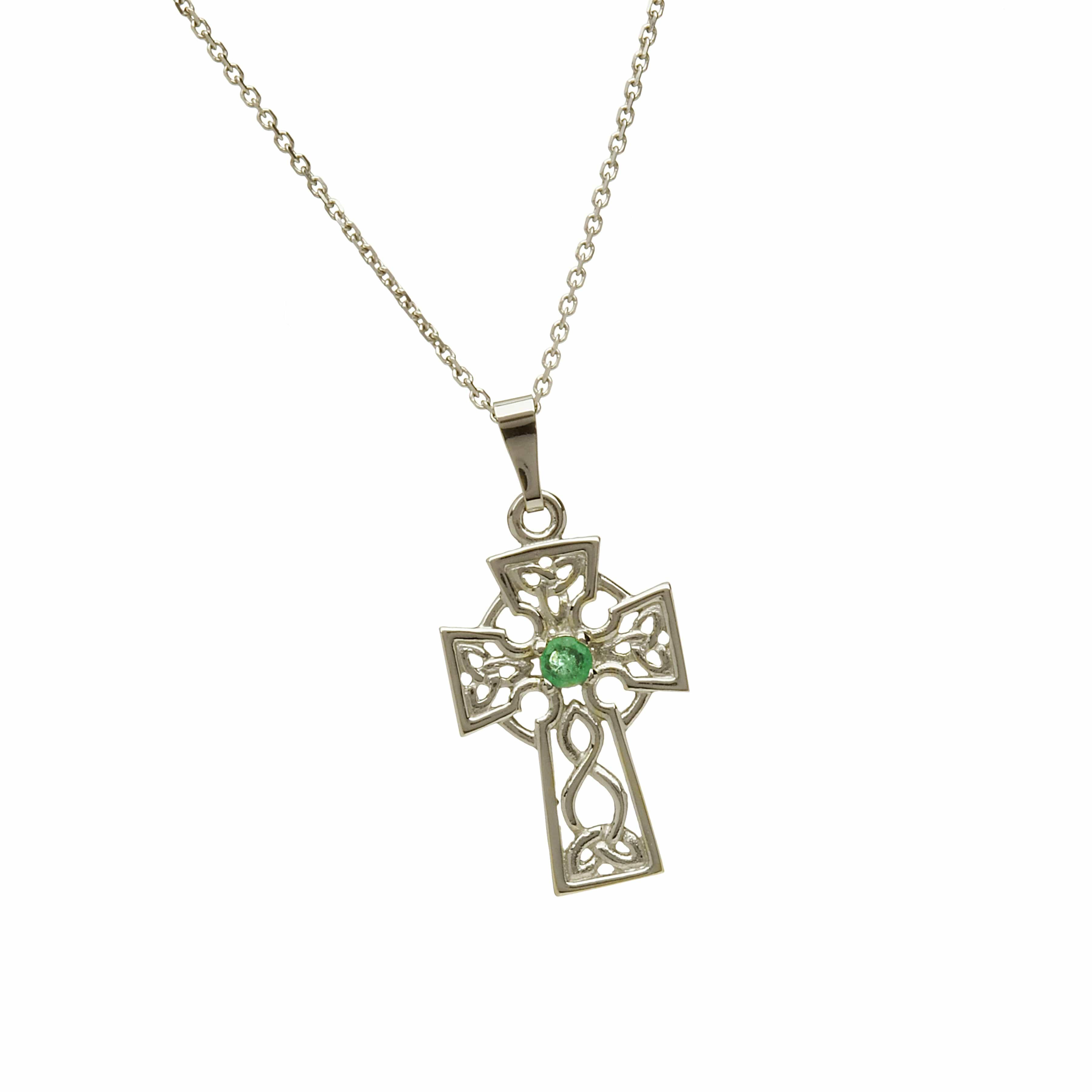 Emerald Set White Gold Cross
