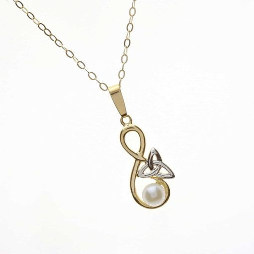 10Ct Trinity Knot Pearl Pendant