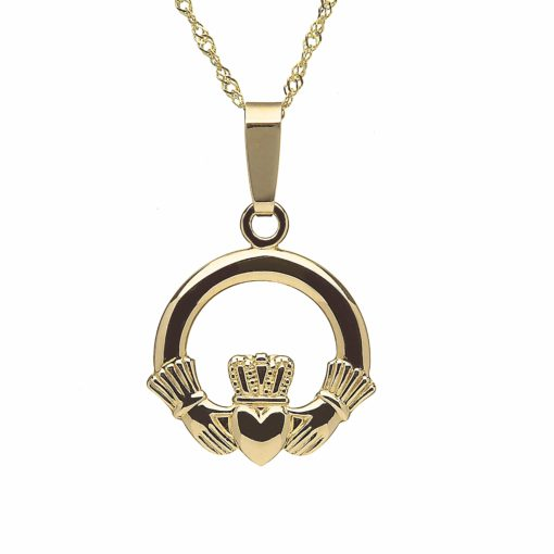 10Ct Medium Claddagh Pendant