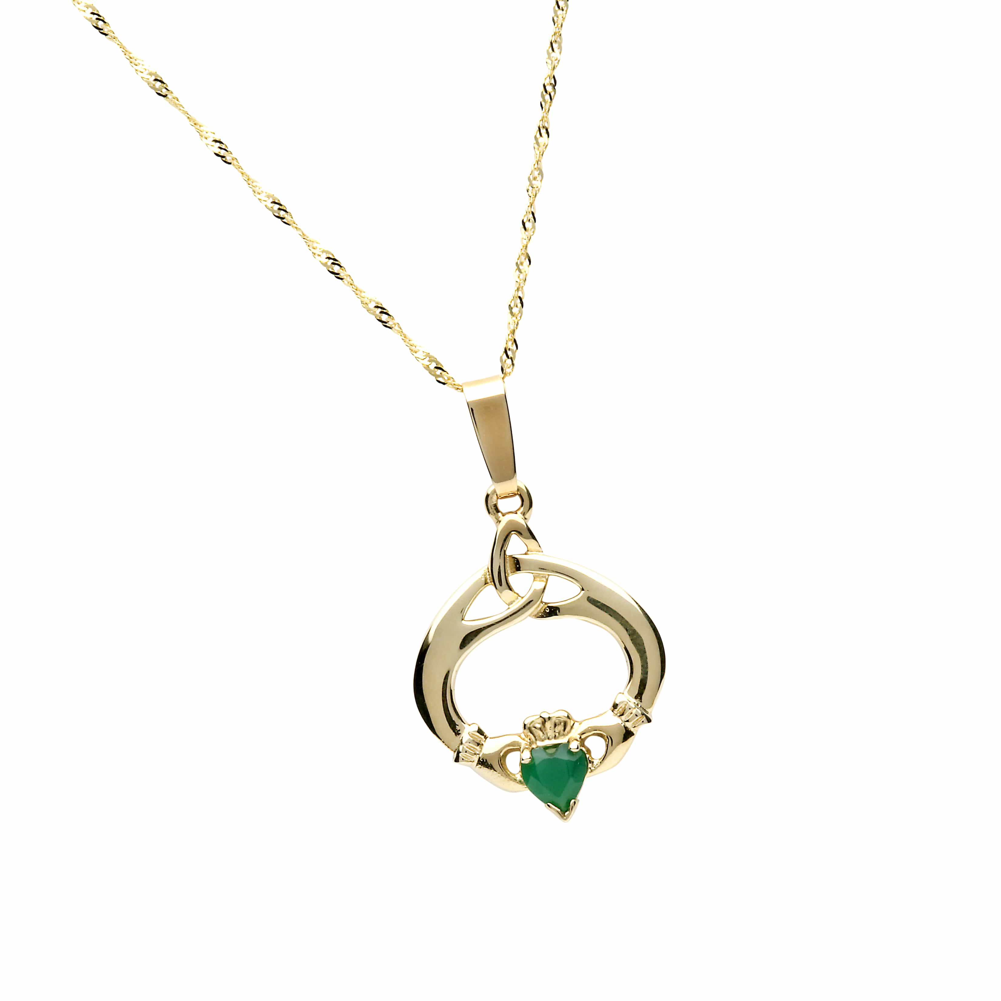 10Ct Green Agate Set Claddagh