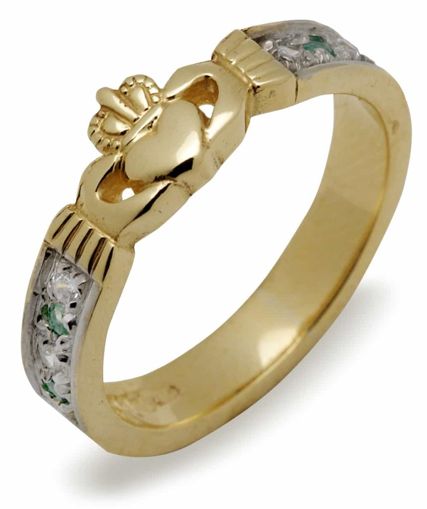 Diamond & Emerald Claddagh