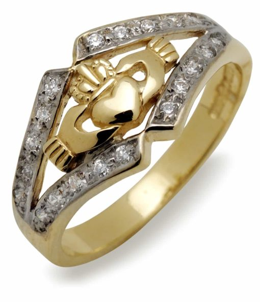 10Kt Cz Claddagh Ring