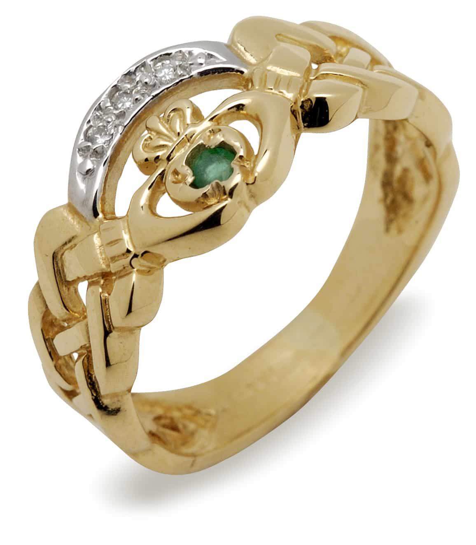 10Kt Nua Claddagh Emerald