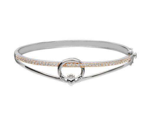 Silver Claddagh Bangle