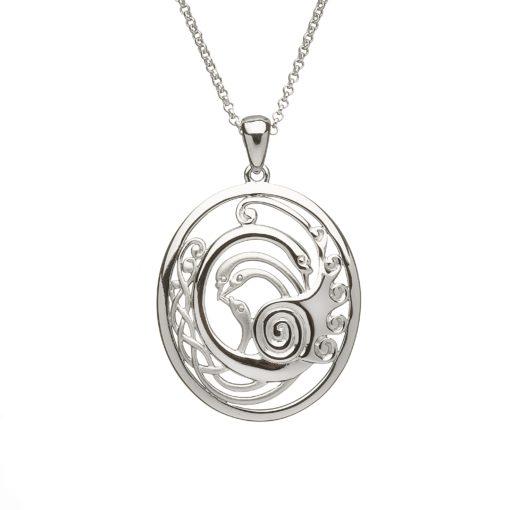 Silver Children of Lir Oval pendant