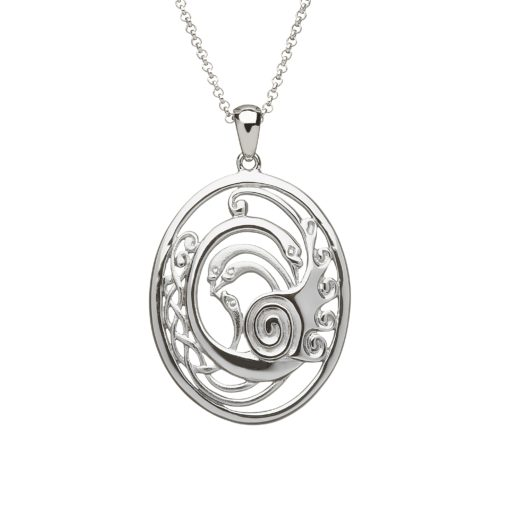 Silver Children of Lir Oval pendant small