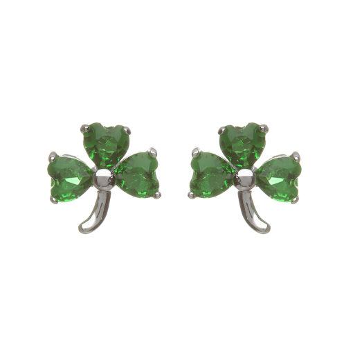 91630859e Sterling silver Shamrock design stud earrings set with green cubic zirconia  - Celtic Designs Jewelry