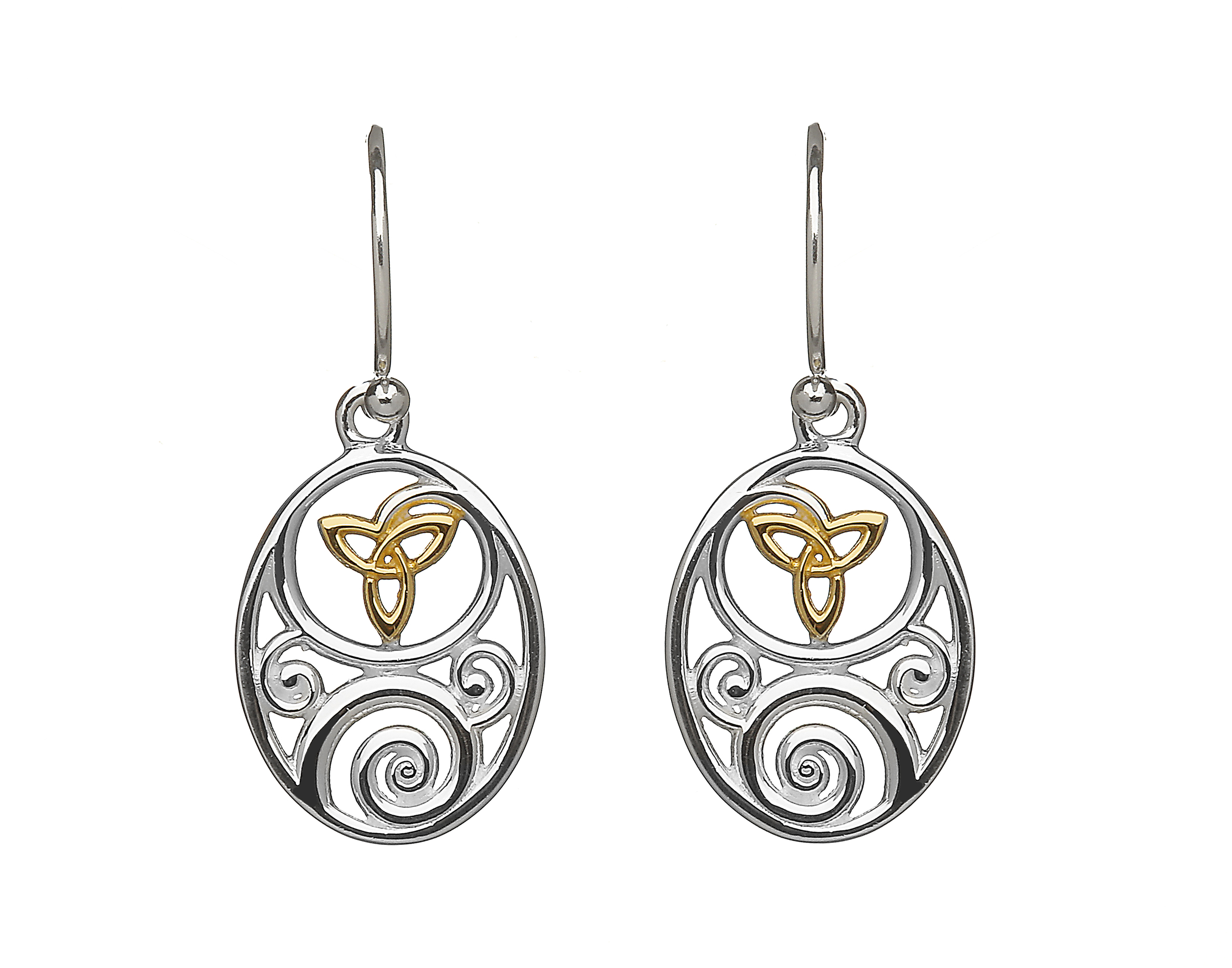 811f4f1c2 Sterling silver oval Celtic design lever back earrings - Celtic Designs  Jewelry