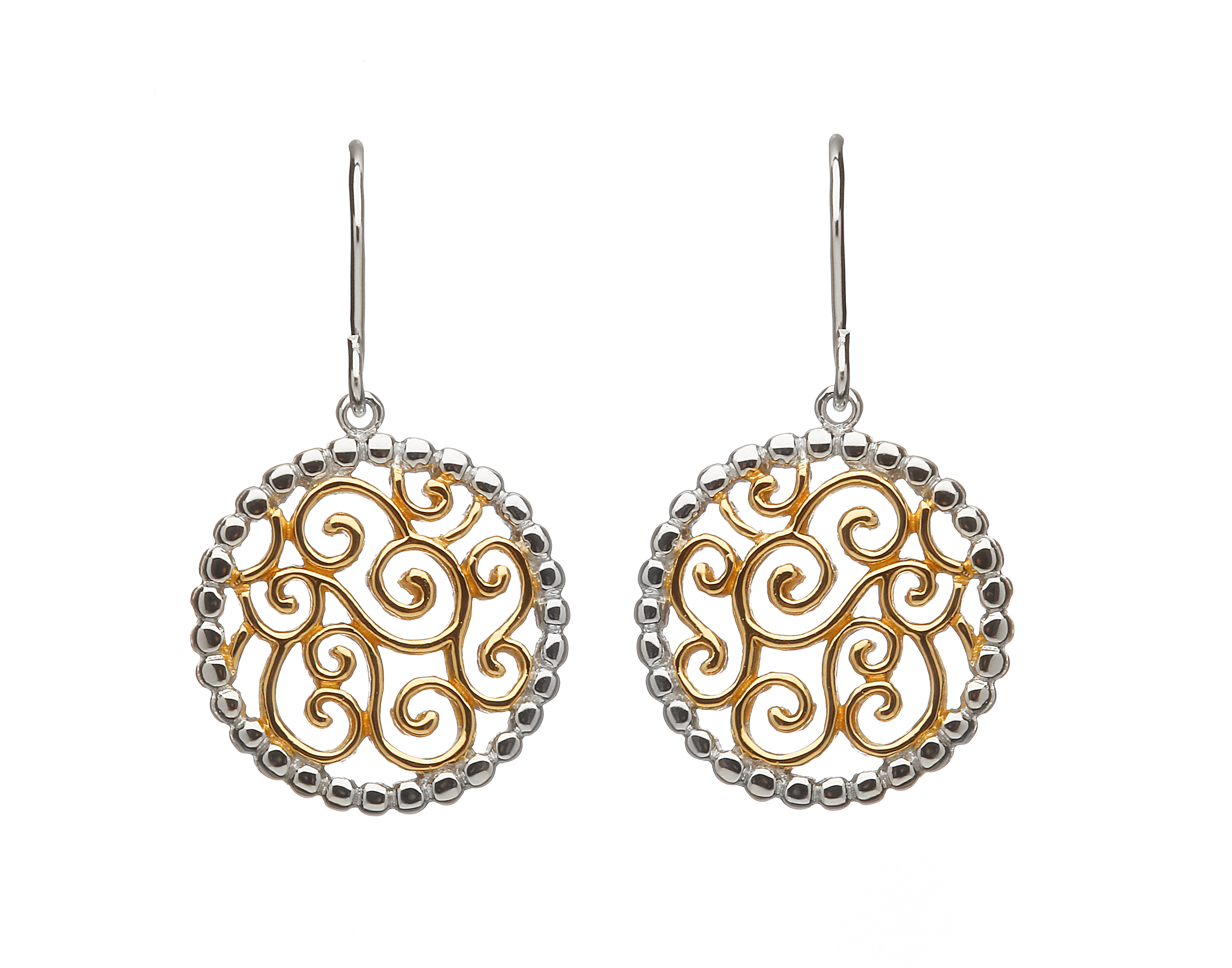 268bba9e6 Sterling silver and yellow gold accents Celtic design lever back earrings - Celtic  Designs Jewelry